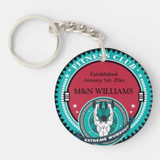 Customize Your Name Extreme Workout Logo Double-Sided Round Acrylic Key Ring