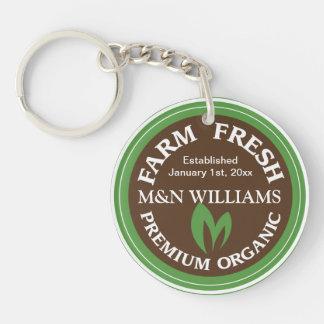 Customize Your Name Organic Farm Logo Double-Sided Round Acrylic Key Ring