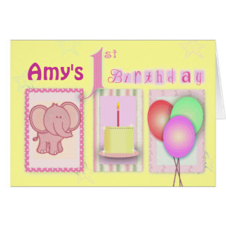 Customize your own 1st birthday greeting card