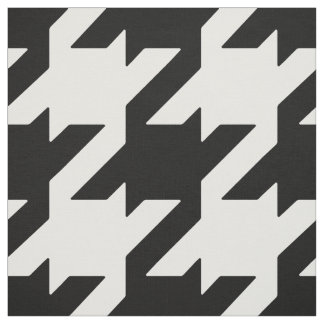 Customize your own bold black white houndstooth fabric