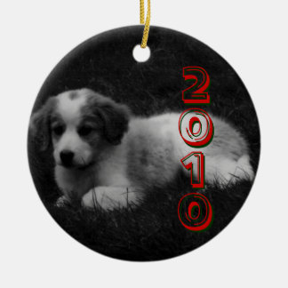CUSTOMIZE your Puppy's First Christmas Round Ceramic Decoration