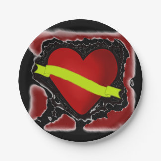CUSTOMIZE YOUR TEXT RETRO HEART PARTY PLATE