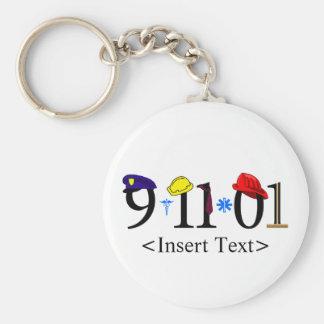 Customizeable 9-11-01 basic round button key ring