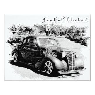 "Customizeable Antique Car Retirement Party Invite 4.25"" X 5.5"" Invitation Card"