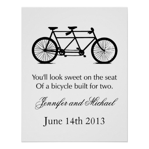 Customizeable bicycle for two print or poster