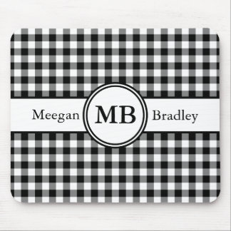 Customizeable Black and White checked Gingham Mouse Mat
