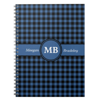 Customizeable Blue and Black checked Gingham Notebook