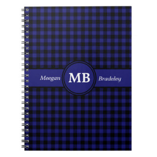 Customizeable Blue and Black checked Gingham Notebooks