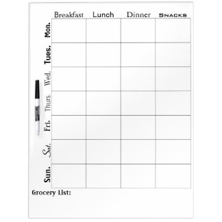 Customizeable Diet Dry Erase Board