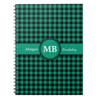 Customizeable Green and Black checked Gingham Notebook