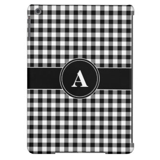 Customizeable Monogram Black and White Gingham iPad Air Cover