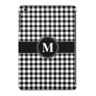 Customizeable Monogram Black and White Gingham iPad Mini Cover