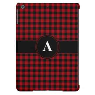 Customizeable Monogram Red and Black Gingham Cover For iPad Air