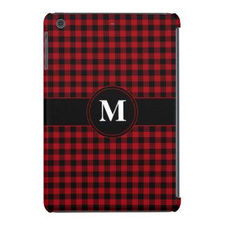 Customizeable Monogram Red and Black Gingham iPad Mini Retina Cases