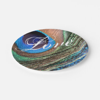 Customizeable Peacock Feather Plate 7 Inch Paper Plate