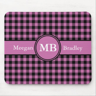 Customizeable Pink and Black checked Gingham Mouse Mat