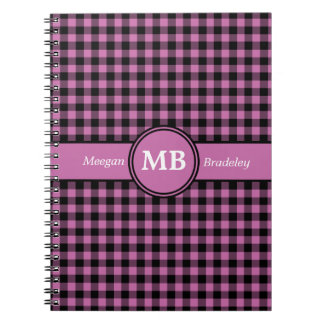 Customizeable Pink and Black checked Gingham Spiral Notebook
