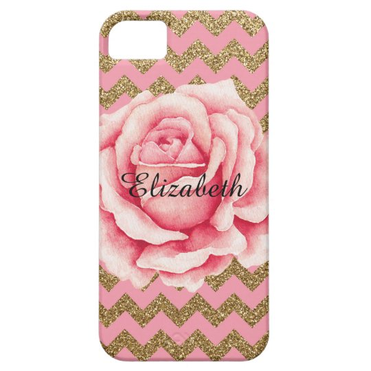 Customizeable Pink & Gold Rose Glitter iPhone 5