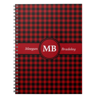 Customizeable Red and Black checked Gingham Spiral Notebook