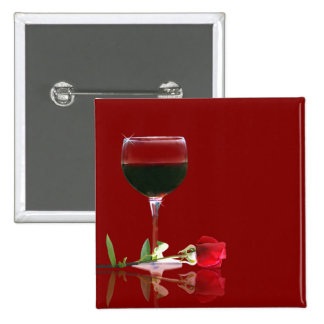 Customizeable Red Wine and Red Rose Button