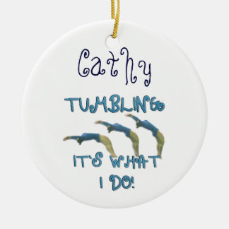 Customizeable tumbling gymnast ornament