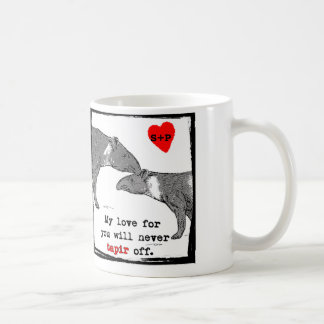 Customizeable Valentine Mug with cute tapirs joke