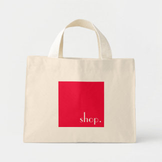 customizeable white text on pink square tote bag