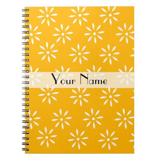 Customizeable Yellow & White Flowers Notebook