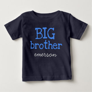 Customized Add a Name Blue Text BIG Brother Baby T-Shirt