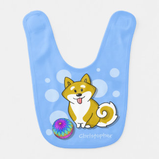 Customized Adorable Shiba Inu and Temari Balls Bib
