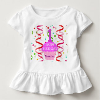 Customized Age and Name Happy Birthday Cupcake Toddler T-Shirt