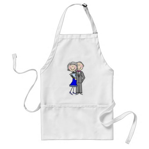 Customized Anniversary Stick Figures Aprons