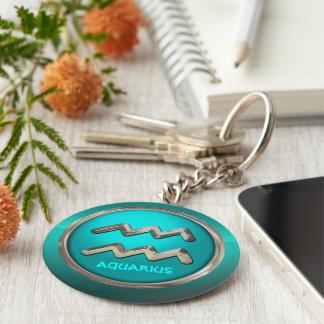 Customized Aquarius Astrological Symbol Basic Round Button Key Ring