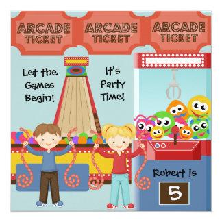 "Customized Arcade Birthday Party Invitation 5.25"" Square Invitation Card"