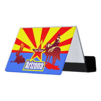 Customized Arizona State Flag Vintage Drawing Desk Business Card Holder