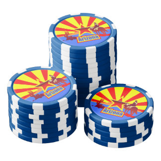 Customized Arizona State Flag Vintage Drawing Poker Chip Set