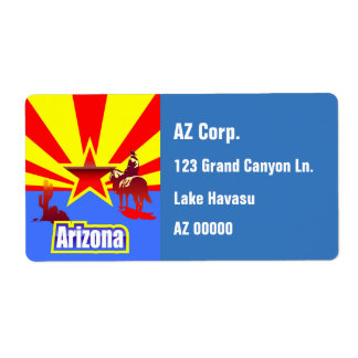 Customized Arizona State Flag Vintage Drawing Shipping Label