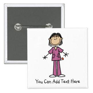 Customized Asian Stick Figure Nurse  Button