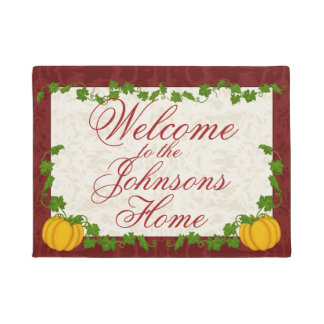 Customized Autumn Pumpkin Template Doormat