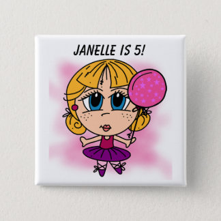 Customized Ballerina Birthday Button