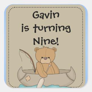 Customized Bear in Canoe Stickers