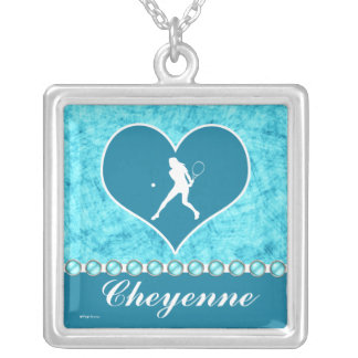 Customized Beautiful Turquoise Girl Tennis Player Silver Plated Necklace