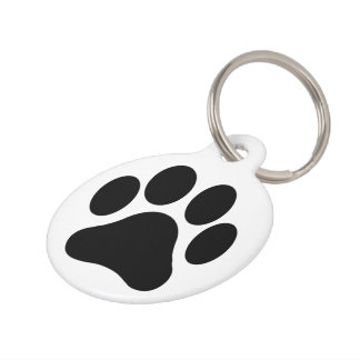 Customized Black and White Paw Print Pet Tag