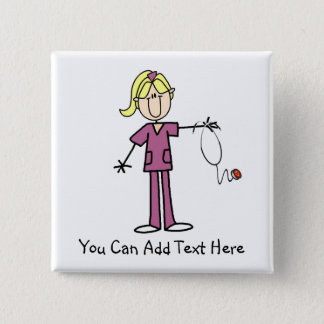 Customized Blond Stick Figure Nurse Button