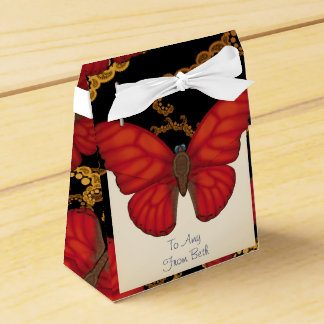 Customized Blood Red Glider Butterfly Favour Box