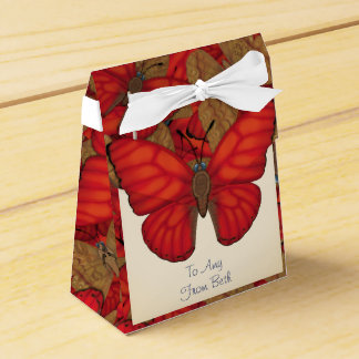 Customized Blood Red Glider Butterfly Favour Boxes