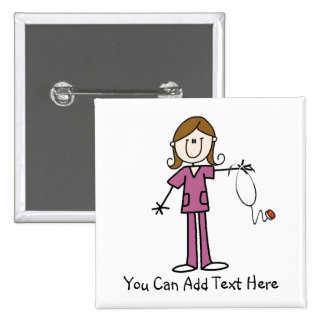 Customized Brown Hair Stick Figure Nurse  Button