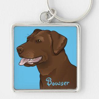 Customized Chocolate Lab Pretty Labrador Dog Silver-Colored Square Key Ring