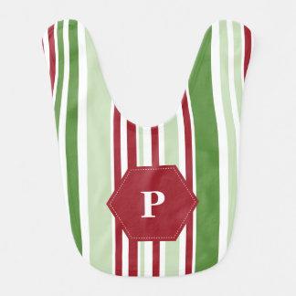 Customized Christmas Stripe Pattern Bib