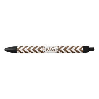 Customized Color Chevron & Hearts Monogram - Brown Black Ink Pen
